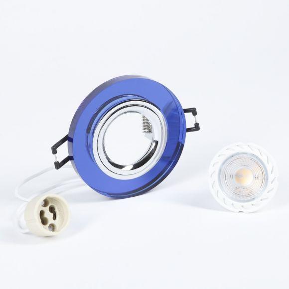 LHG Einbaustrahler rund mit Glas blau, 3er Set LED GU10 5W