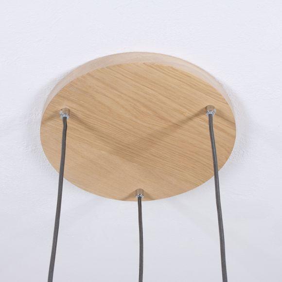 3 fl.Pendelleuchte Bosco Ø 30cm, Eiche  Textikabel wählbar