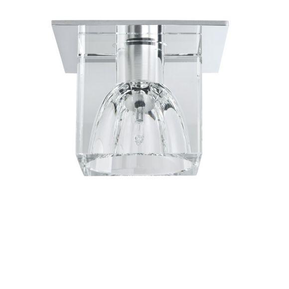 Glaseinbauleuchte in Chrom mit klarem Glas