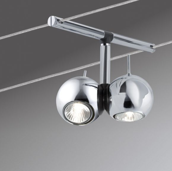 halogen seilsystem komplett set in chrom 5 kugel spots wohnlicht. Black Bedroom Furniture Sets. Home Design Ideas