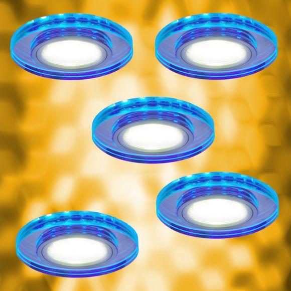 Halogen Spot mit blauer LED Hintergrundbeleuchtung- 5-er Set