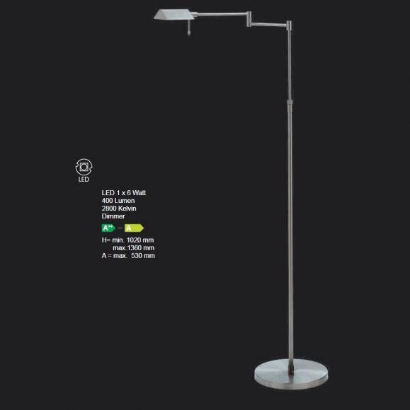 Höhenverstellbare LED-Stehleuchte mit Dimmer in 3 Farben