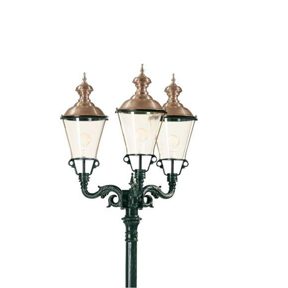 Holländische 3-flammige Laterne mit Kupferdach - dunkelgrün lackiert