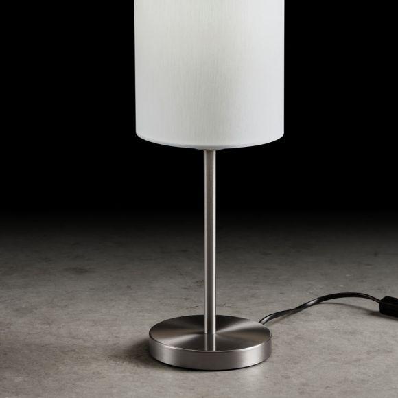 Holtkötter Tischleuchte Nickel-matt mit Stoffschirm weiß