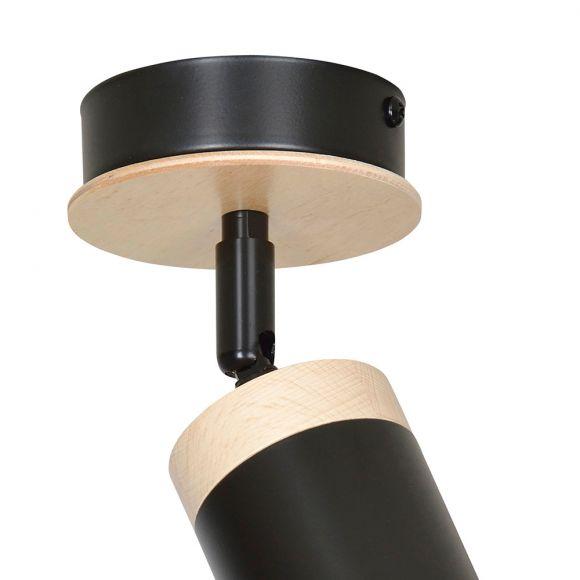 Holz Deckenstrahler schwarz, 1-flammig,  inkl. LED 5W GU10