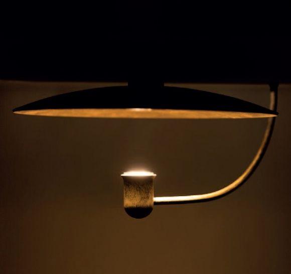 Indirekte Deckenleuchte Eisen natur / Goldfarbe, quadratisch