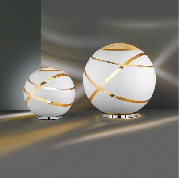 Kugel Tischleuchte Faro aus weißem Glas, Ø 30cm