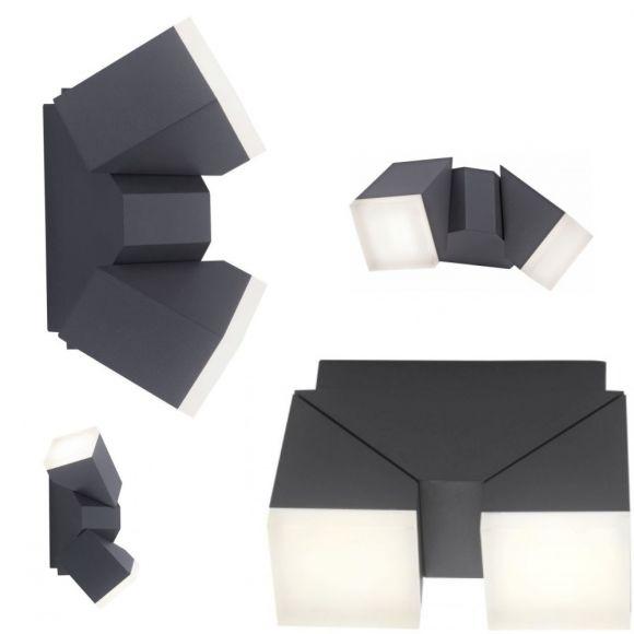 LED Außenleuchte, Schwenkbar, anthrazit, 2 flg. Spritzwassergeschützt