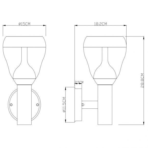 LED Außenwandleuchte aus Edelstahl und Glas klar  Außenwandlampe IP44