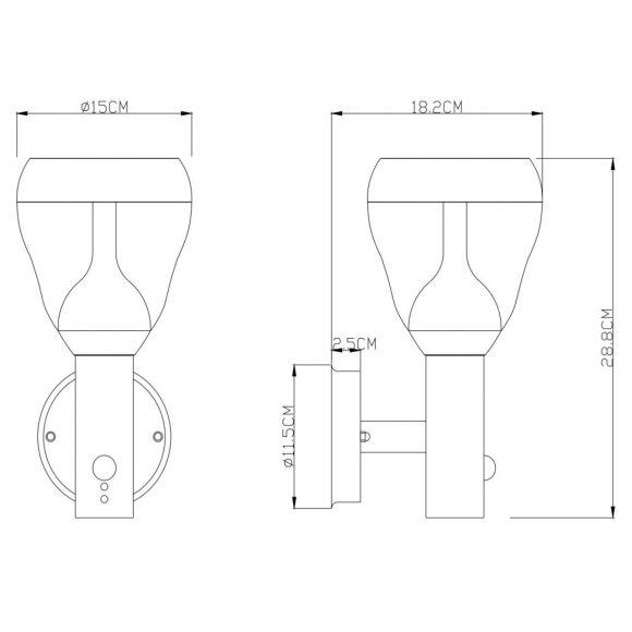 LED Außenwandleuchte mit Bewegungsmelder aus Edelstahl und Glas klar Außenlampe 29 cm warmweiß IP44