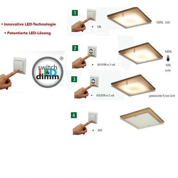 LED Deckenleuchte aus Holz inklusive switch-dimm 2,4-14Watt LED