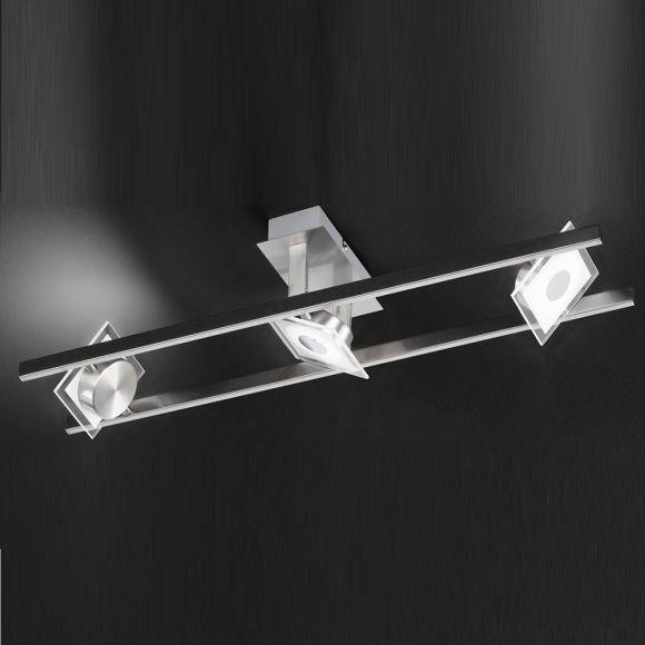 LED Deckenleuchte mit schwenkbaren Lichtquellen, 3flg Nickel matt Chrom