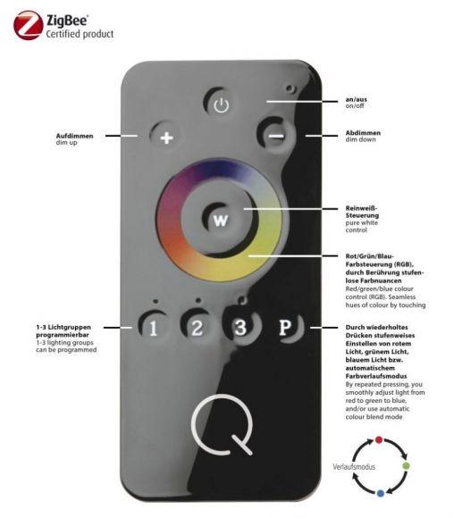 LED Deckenleuchten, Q®-Vidal, Smart Home, RGB, ZigBee, Fernbedienung