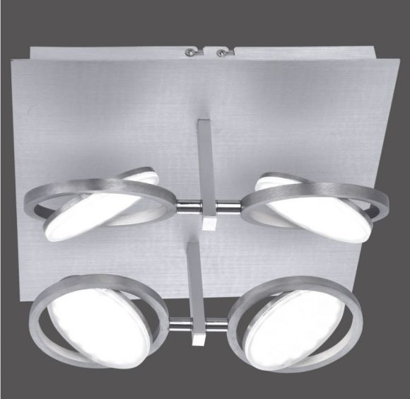 LED Deckenleuchte, Smart Home, Fernbedienung, Aluminium, 4-flammig