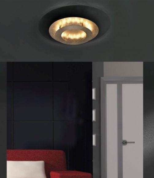 LED Deckenleuchte, Stahl, Blattsilber o. Blattgold, D= 40cm