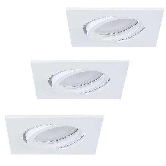 LHG LED Einbauleuchte, 3er Set, weiß, eckig, schwenkbar, inkl LED 5W