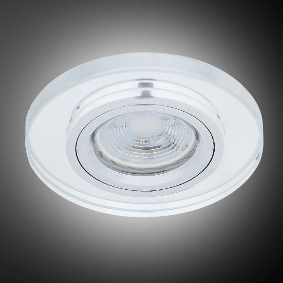 LHG LED Einbauleuchte, rund, D 9cm, Glas klar, inkl. LED GU10 5,5W