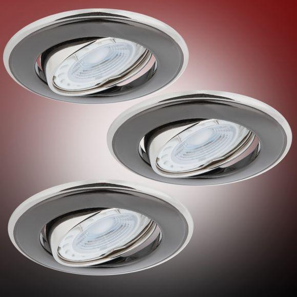 LHG LED Einbaustrahler 3er Set, rund, graphit, schwenkbar, inkl. LED 5W
