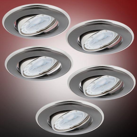 LHG LED Einbaustrahler 5er Set, rund, graphit, schwenkbar, inkl. LED 5W