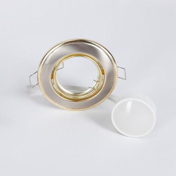 LHG LED Einbaustrahler, 3er Set, Nickel, gold, 3-fach schalterdimmfähig