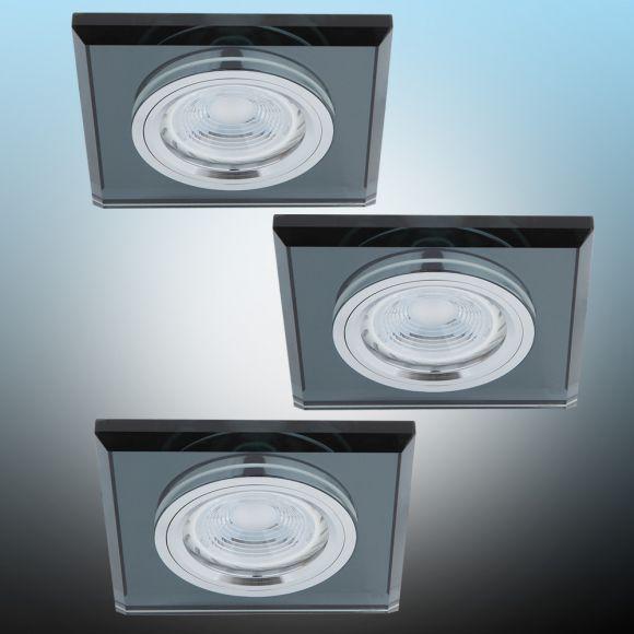 LHG LED Einbaustrahler, Glasrahmen schwarz, eckig, 3er Set, inkl. LED 5W