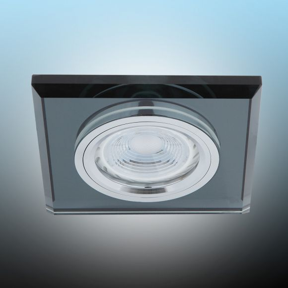 LHG LED Einbaustrahler, Glasrahmen Schwarz, eckig, LED 1x GU10 5W