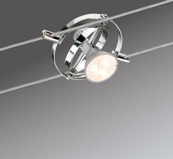 led komplett seilsystem cardan chrom 6 x 4watt gu5 3 wohnlicht. Black Bedroom Furniture Sets. Home Design Ideas