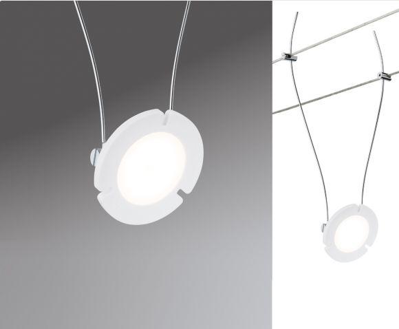 LED Komplett-Seilsystem Daisy, Chrom-matt, 5x 4Watt