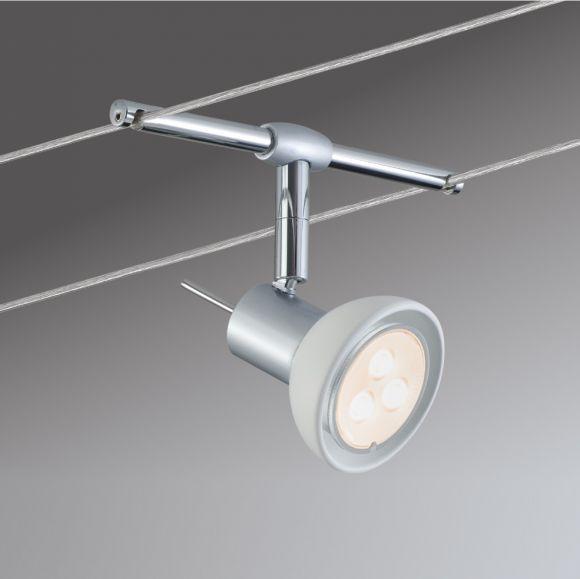 LED Komplett-Seilsystem Sheela, Chrom-Opal, 6 x 4W