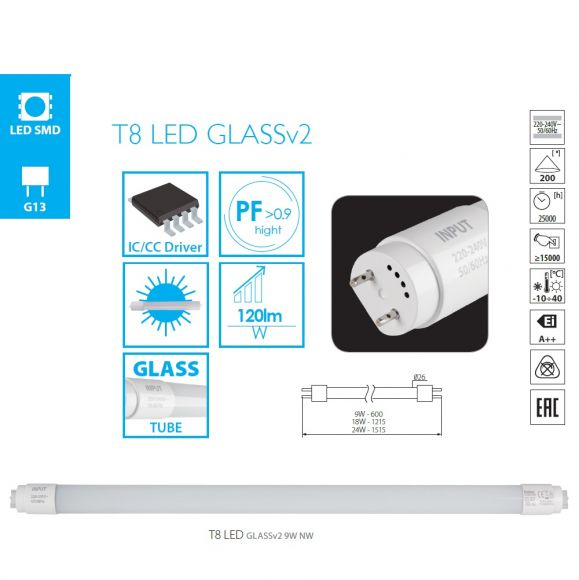 LED Leuchtstofflampe G13 mit 18 Watt,  Lichtfarbe wählbar, 120cm
