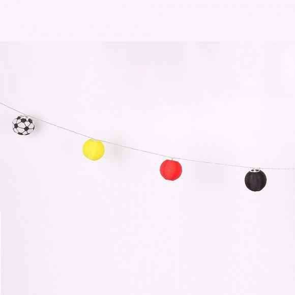 LED Solar Lichterkette Fußball mit 12 Lampions in Deutschlandfarben
