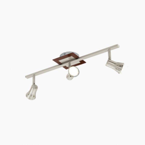LED Strahlerbalken 3flammig Nickel Holz, 3 x GU10 3W, 55 cm
