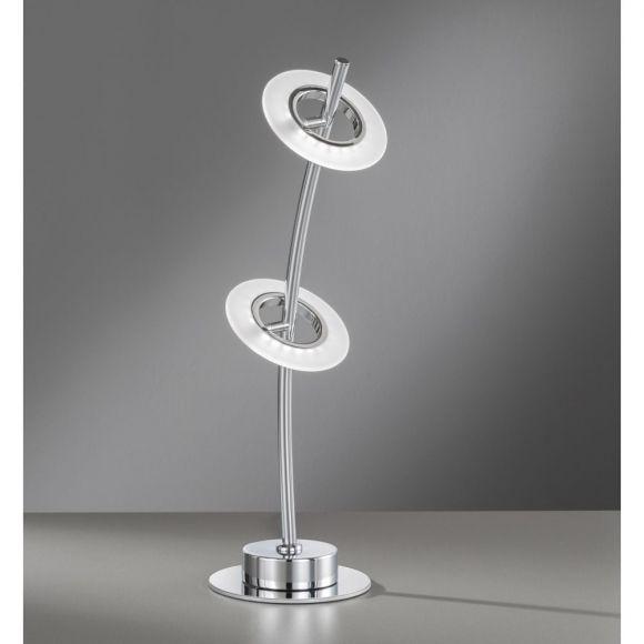 LED Tischleuchte gebogen Acyrl weiß Metall chrom, 2-flammig inkl. 2x LED 4 Watt, mit Schnurschalter, silber, warmweißes Licht