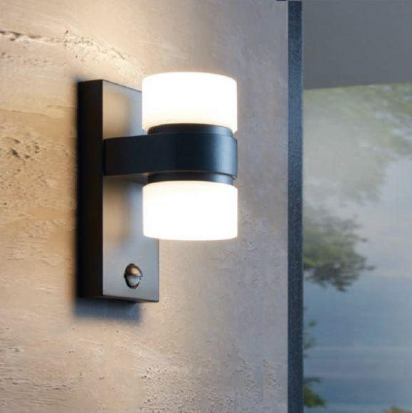 Top LED Wandleuchte Außen, anthrazit, mit Bewegungsmelder, H 23cm PO94