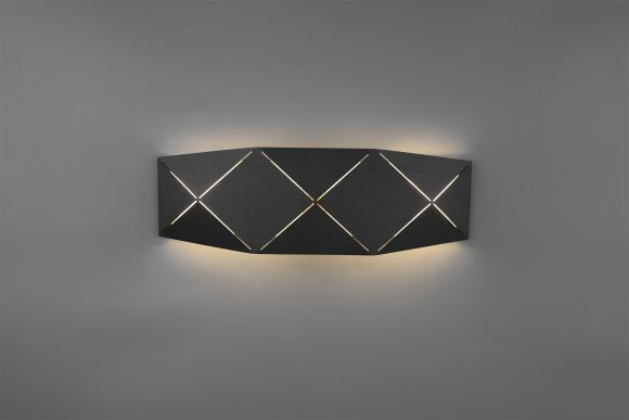 LED Wandleuchte, Up and Down, Metall, 40cm lang, Schwarz