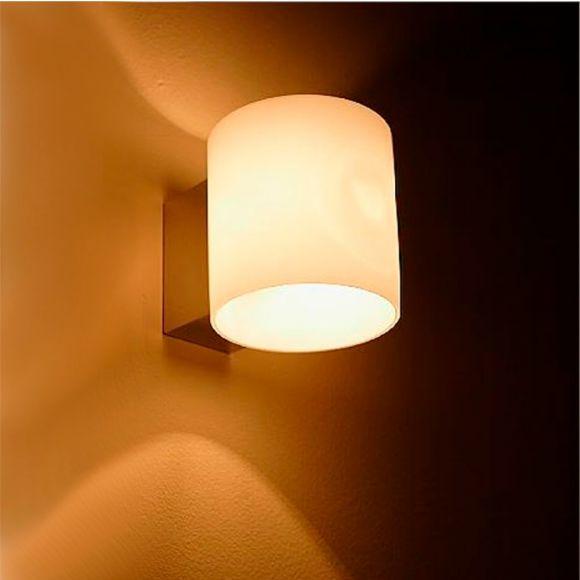 LHG LED Wandleuchte, Glas weiß, zylinderförmig, inkl. LED-Leuchtmittel