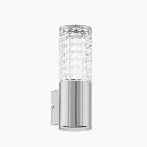 LED-Außenwandleuchte Edelstahl, Klarglas mit Struktur, LED 3,7W