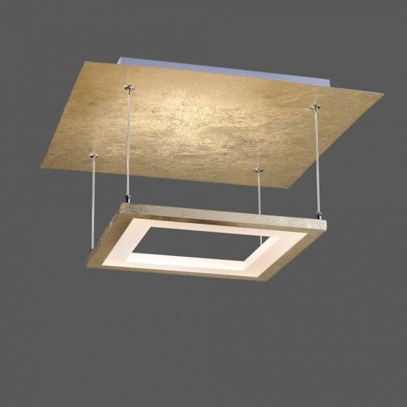LED-Deckenleuchte eckig, edle Oberfläche, 4 x 4,2W LED