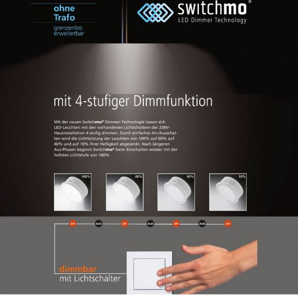 LED-Deckenleuchte mit LED- Switchmo ® - Nickel /Glas