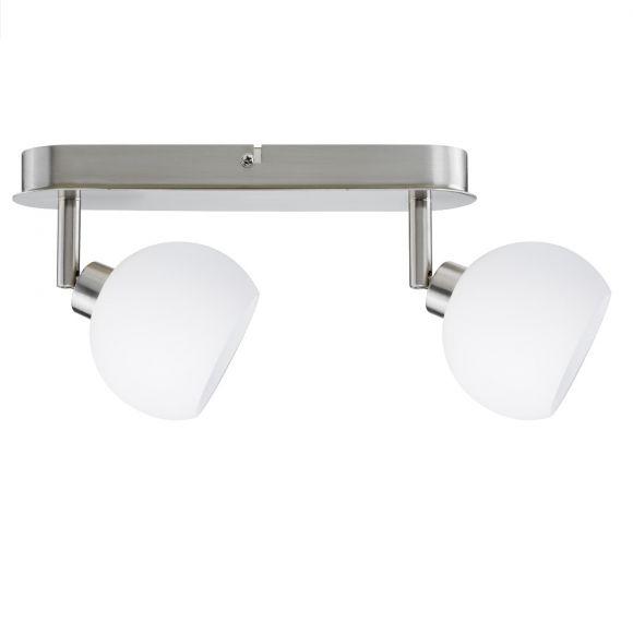 LED-Deckenspotlight  Eisen gebürstet, Glas weiß - inklusive LED - Hochvolt Stiftsockel, 2 x 3 Watt GU10 Warmweiß