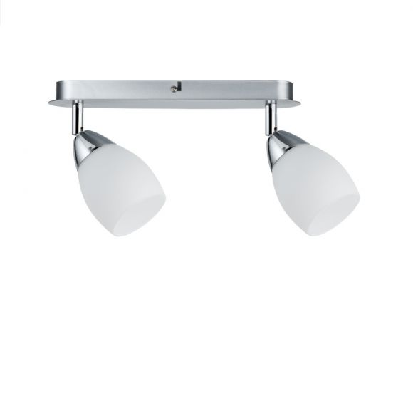 LED-Deckenstrahler Chrom, Glas weiß, 2 x 3 Watt GU10