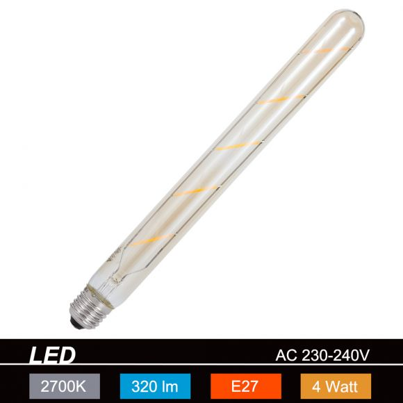 LED-Leuchtmittel E27 4W, braun-getönt, Länge 30 cm