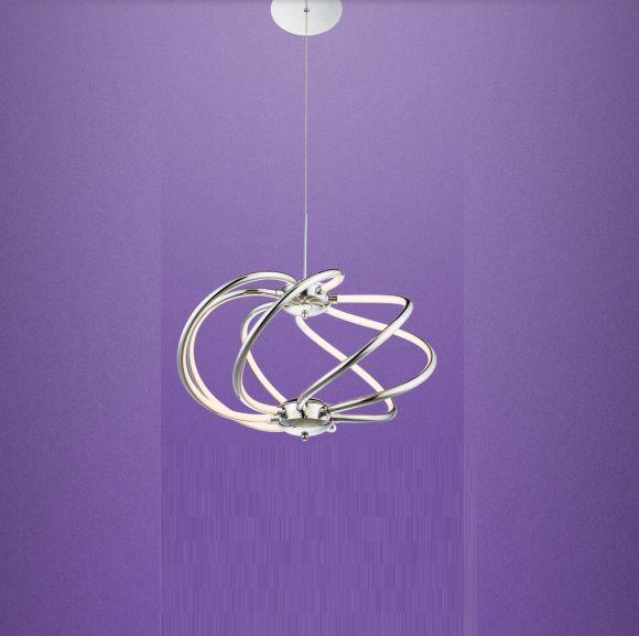 LED-Pendelleuchte in chrom mit satiniertem Acrylglas Ø 50cm