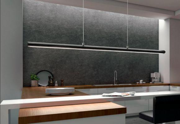 LED-Pendelleuchte in Nickel-matt, Touchdimmer, Länge 110cm