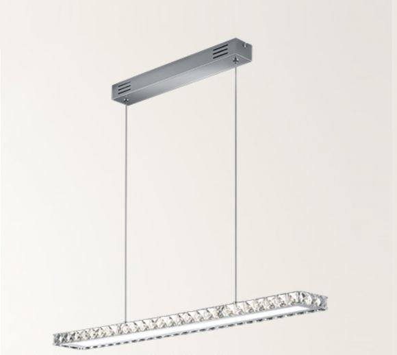 LED-Pendelleuchte - verchromtes Metall, geschliffenes Kristallglas klar - inkl. 1× SMD 22 WLED, 2100 lm, 3000°K + Extra 1x GU10 LED Leuchtmittel zur freien Nutzung