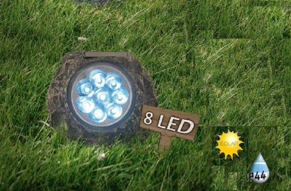 LED-SOLAR- Stein mit 8 weißen LED in Stein-Optik- kein Stromanschluss notwendig - inklusive  LED-Taschenlampe