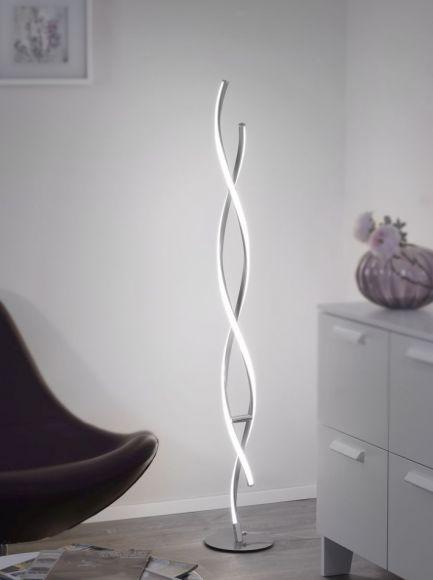 LED-Stehleuchte Polina dimmbar über Schnurdimmer, geschwungen , Wellenform gedreht silber 2700 Lumen