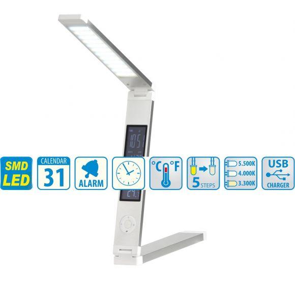 LED-Tischleuchte aus Kunststoff Weiß mit Display - Inklusive LED 7,2 Watt  360 Lumen