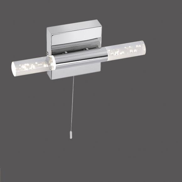 LED-Wandleuchte Chrom, Blasenglas, mit Zugschalter, IP44