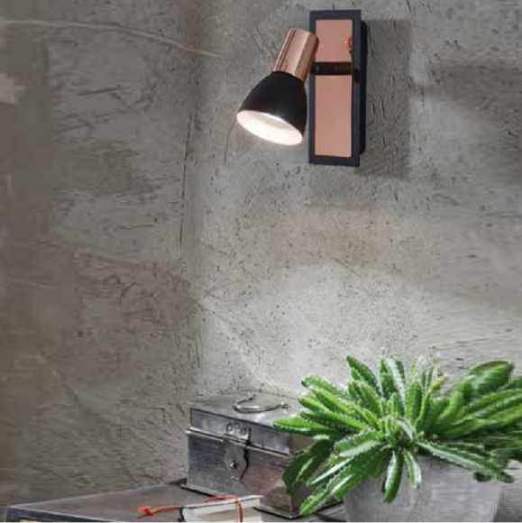 LED-Wandspot in Schwarz-Kupfer, schwenkbar